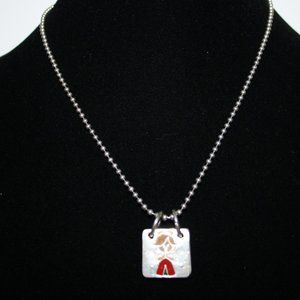 Silver Christmas angel gingerbread man necklace